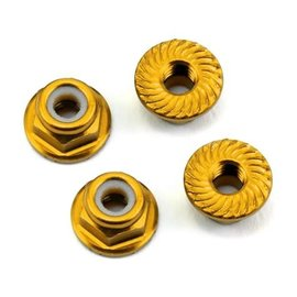 175RC 175-11047 Aluminum 4mm Serrated Locknuts (Gold)