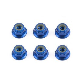 Team Associated ASC31551  FT Locknuts, M4 flanged, blue aluminum for TC7.2  B6.1  T6.1  SC6.1  F6