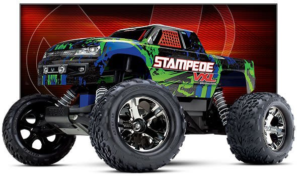 TRA36076-4 Green Stampede VXL 1/10 RTR 2WD Monster Truck