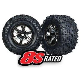 Traxxas TRA7772A  X-Maxx AT Tires on Black Chrome Wheels