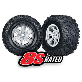 Traxxas TRA7772R X-Maxx Pre-Mounted Tires & Wheels (2) (Satin Chrome)