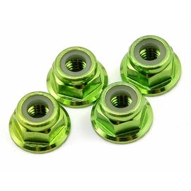 Traxxas TRA1747G 4mm Green Alum. Flanged Locking Serrated Nuts (4)
