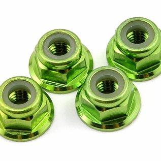 Traxxas TRA1747G  4mm Green Alum Flanged Locking Serrated Nuts (4) TRX4 Rustler Slash Stampede