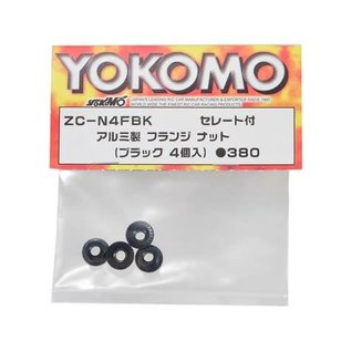 Yokomo YOKZC-N4FBK  4mm Aluminum Serrated Flanged Nut (Black) (4)