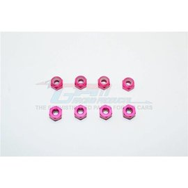 GPM Racing Products LN3-P  Pink Aluminium 3mm Lock Nuts-8pcs