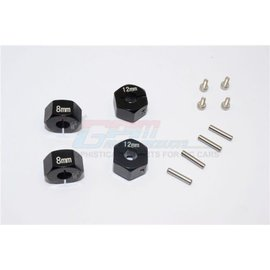 GPM Racing Products GT010/12x8mm-BK  Black Aluminum Hex Adapters 8mm Thick