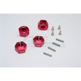 GPM Racing Products GT010/12x8mm-R  Red Aluminum Hex Adapters 8mm Thick