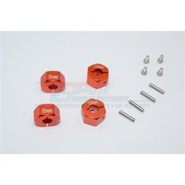 GPM Racing Products GT010/12x8mm-O  Orange Aluminum Hex Adapters 8mm Thick