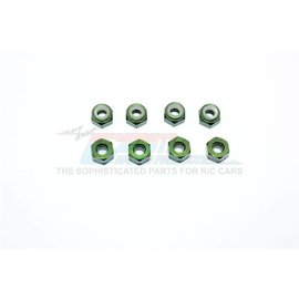 GPM Racing Products LN4-G  Green Aluminium 4mm Locknuts (8)