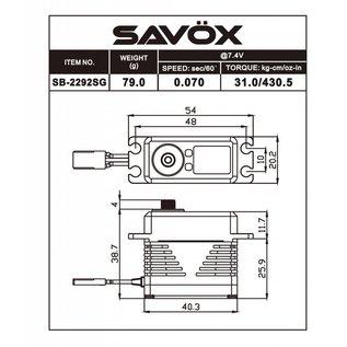 Savox SAVSB2292SG  Black Edition Monster Torque Brushless Steel Gear Servo