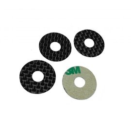1UP Racing 1UP10404  Carbon Fiber Body Washers - Adhesive Backed - 1/8 On-Road - (4 Pack)