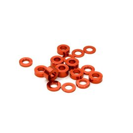 Integy C26777RED Billet Machined 16pcs Aluminum M3x6 Washer Spacer (0.5, 1.0, 2.0, 3.0mm)