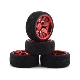 Firebrand RC FBR1WHEHYP886  Hypernova RT39 Pre-Mounted On-Road Tires (4) (Red Chrome)