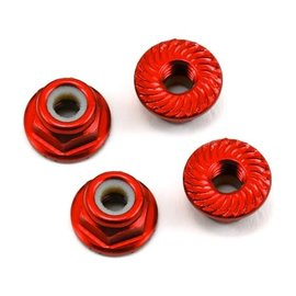 175RC 175-11043  175RC Aluminum 4mm Serrated Locknuts (Red)