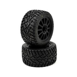 "J Concepts JCO3056-3040  2.8"" G-Locs Tires, Yellow Premount on Black Wheels for E-Stampede E-Rustler"