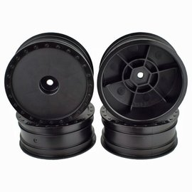 DE Racing DERBB4KFB  Buggy Wheels for Assoc B6/Kyosho RB6/Front/Black/4pcs
