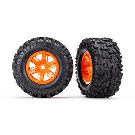 Traxxas TRA7772T  X-Maxx AT Tires on Orange Wheels (2)