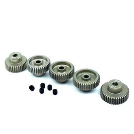 Surpass Hobby USA SP-011025-24 64P Hard Anodized 7075 Aluminum Pinion Gear Set 36T-40T (5)