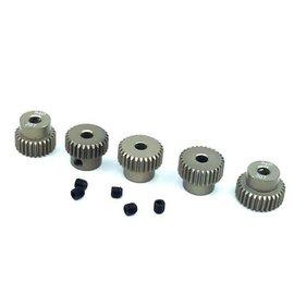 Surpass Hobby USA SP-011025-22 64P Hard Anodized 7075 Aluminum Pinion Gear Set 26T-30T (5)