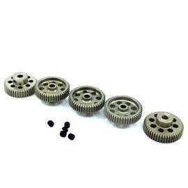 Surpass Hobby USA SP-011025-26 64P Hard Anodized 7075 Aluminum Pinion Gear Set 46T-50T (5)
