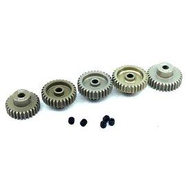 Surpass Hobby USA SP-011025-48 48P Hard Anodized 7075 Aluminum Pinion Gear Set 29T-33T (5)