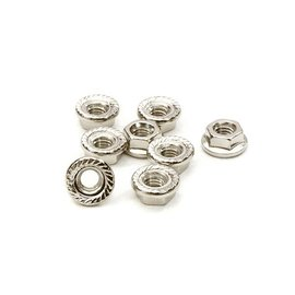Integy C26778SILVER  Silver M4 Sized Serrated 4mm Wheel Nut Flanged 8pcs