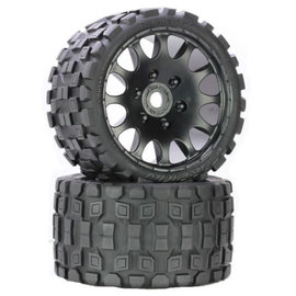 Power Hobby PHBPHT1131S  Scorpion Belted Medium Tires on Black Wheels 17mm Hex (2)