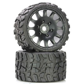 Power Hobby PHBPHT1141S  Raptor Belted Medium Tires on Black Wheels 17mm Hex (2)