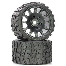 Power Hobby PHBPHT1141S  Raptor Belted Medium Tires on Black Wheels 17mm Hex (2)