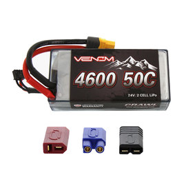 Venom Racing VNR15202  Venom 2S 7.4v 4600mAh 50c LiPo Shorty Pack w/ Adaptor Plug