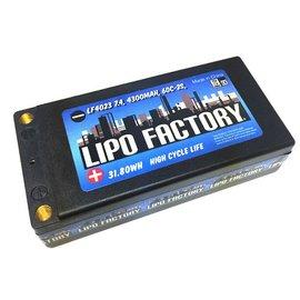 Lipo Factory LF4023  LiPo Factory 2S 7.4v 4300mah 60C LiPo Shorty w/ 5mm Bullets