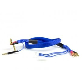 Avid RC AV1402-BLU  2S Blue Charge Lead Cable w/4mm & 5mm Bullet Connector (2')