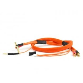 Avid RC AV1402-ORG  2S Orange Charge Lead Cable w/4mm & 5mm Bullet Connector (2')