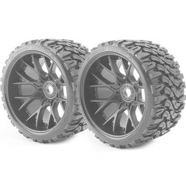 SWEEP C1002B  Black Terrain Crusher Monster Truck 17mm Belted Tire (2)