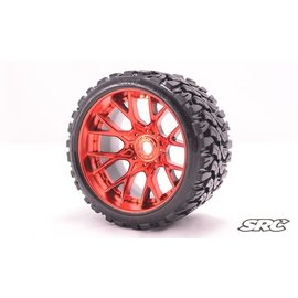 SWEEP C1002R  Red Terrain Crusher Monster Truck 17mm Belted Tire (2)