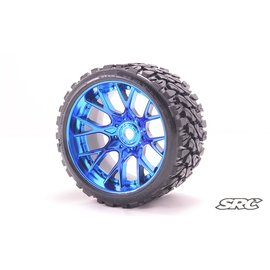 SWEEP C1002BC  Blue Terrain Crusher Monster Truck 17mm Belted Tire (2)