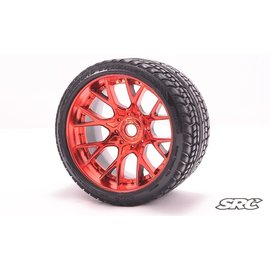 SWEEP C1001R  Red Road Crusher Monster Truck 17mm Belted Tire (2)