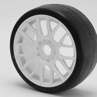 SWEEP 40145E415  1:8th GT Belted Slick EXP 45deg Soft On White EVO16 Spoke Rim (2)