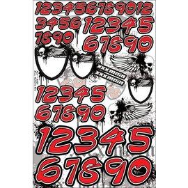 XXX Main N001 Skulls Number Set - Red