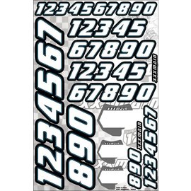 XXX Main N002 Race Number Set - White