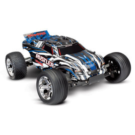 Traxxas TRA37054-4  Blue Rustler Stadium Truck RTR without Battery/Charger