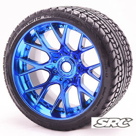SWEEP C1001BC  Blue Road Crusher Monster Truck 17mm Belted Tire (2)