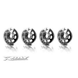 Xray XRA308031  Silver Aluminum Xray Shock Spring Retaining Collar (4)