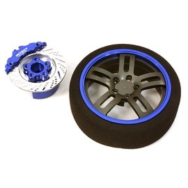Integy C26907BLUE  Blue Billet Machined Alloy D5 Spoke Steering Wheel Set for Traxxas Radio Transmitter