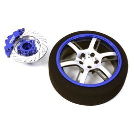 Integy C26911BLUE  Blue Billet Machined Alloy 6 Spoke Steering Wheel Set for Traxxas Radio