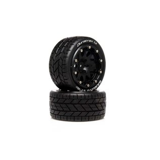 Duratrax DTXC5530  Bandito ST Belted 2.8 2WD Mounted Rear Tires, 0 Offset, Black (2)