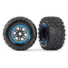 Traxxas TRA8972A  Maxx Black & Blue Beadlock Style Wheels & Tires (17 Hex) (2)