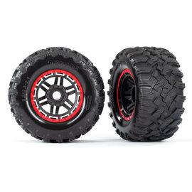 Traxxas TRA8972R  Maxx Black & Red Beadlock Style Wheels & Tires (17 Hex) (2)