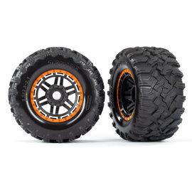 Traxxas TRA8972T  Maxx Black & Orange Beadlock Style Wheels & Tires (17mm Hex) (2)