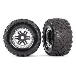 Traxxas TRA8972X  Maxx Black & Chrome Beadlock Style WHeels & Tires (17mm Hex) (2)